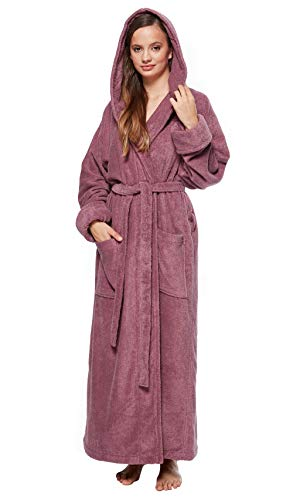 Arus Women's Full Length Long Tall Hooded Soft Twist Turkish Cotton Bathrobe Plum ()