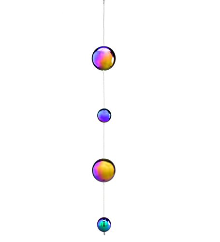 Wind and Weather Hanging Gazing Ball Rainbow Chain Garden Accent (Ball Rainbow Gazing)