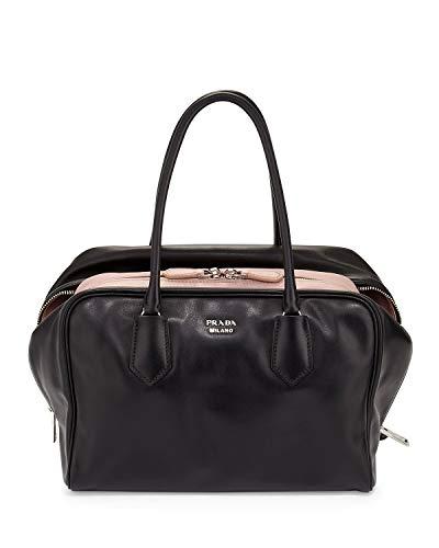 Prada Womens Soft Calf Inside Tote - Black/Pink Leather
