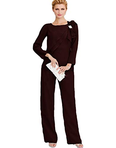 The Peachess Mother of The Bride Pant Suits Long Sleeve Wedding Guest Two Pieces Groom Mother Outfit Burgundy ()
