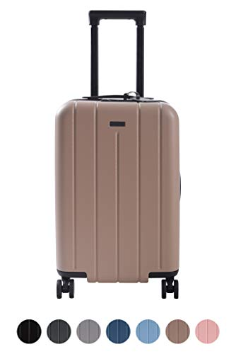 (Carry On Luggage Lightweight Suitcase Spinner (Beige Sand))