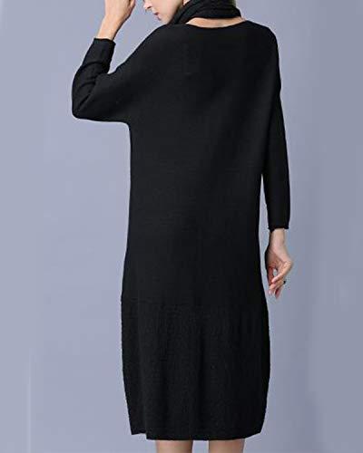 A E Lunghe Eleganti Kervinfendriyun Da Sciarpa Abito Maniche Donna Con Black Yy4 q0OHx87