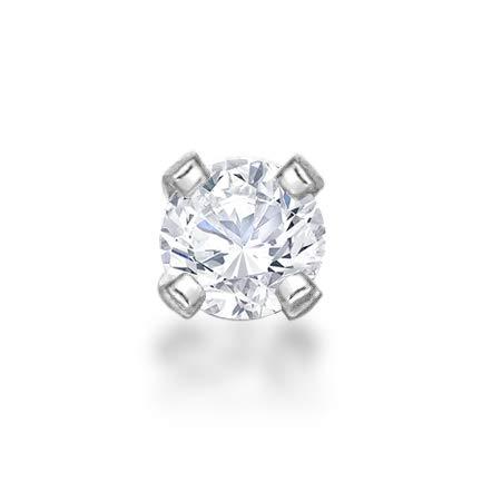 Lavari - 14K White Gold 1.7mm .02 Carat Genuine Diamond Nose Ring Straight Stud 22 - Bone Ring Diamond Nose