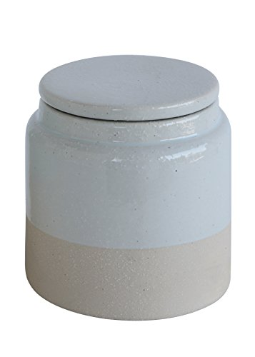 Creative Co-Op Small White Glazed Stoneware Canister, , Multicolored ()