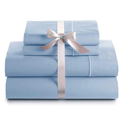 (Bluemoon Homes Genuine Premium Egyptian Cotton 1000 Thread Count Italian Finish Sky Blue 4-Piece Sheet Set, 19 inches Deep Pocket, Solid, Size Cal-King )