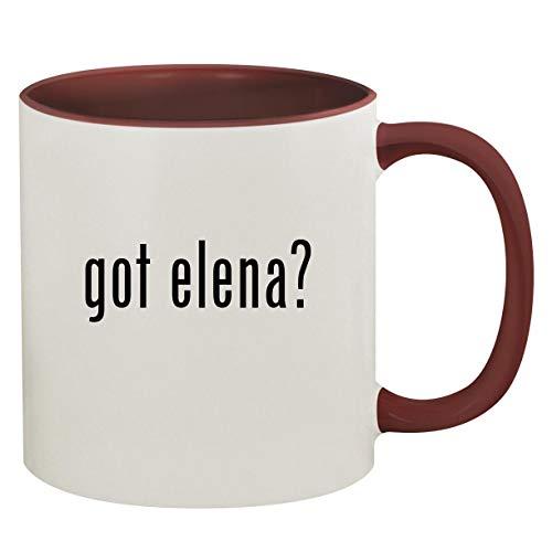 got elena? - 11oz Ceramic Colored Inside & Handle Coffee Mug, Maroon (Coffee Elena Table)