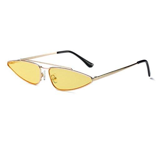 Marco Estilo Color gato sol Escoger de de Ojo Lente Gafas de Dorado Amarillo Pequeña Mujer agua súper Gafas Metal para Retro Moda UV C4 6 Xinvision Anti Gota Rwx6CC