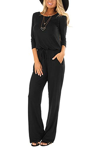 LACOZY Womens 3/4 Sleeve Casual Loose Wide Legs Jumpsuits Romper Pants with Pockets