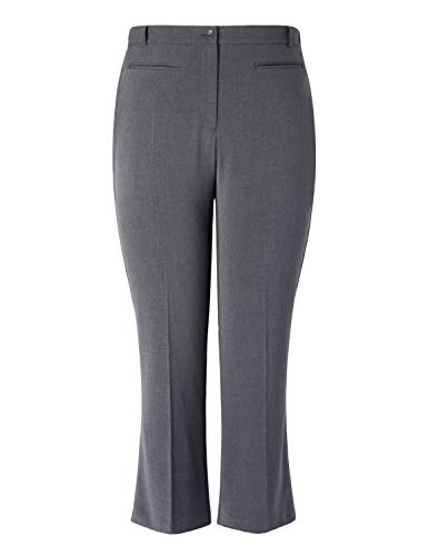 Chicwe Women's Plus Size Curvy Fit Boot Cut Pants - Casual and Work Pants Trousers (16, Grey)