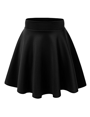 Costumes With Black Skirt (MBJ WB669 Womens Basic Versatile Strechy Flare Skater Skirt L)