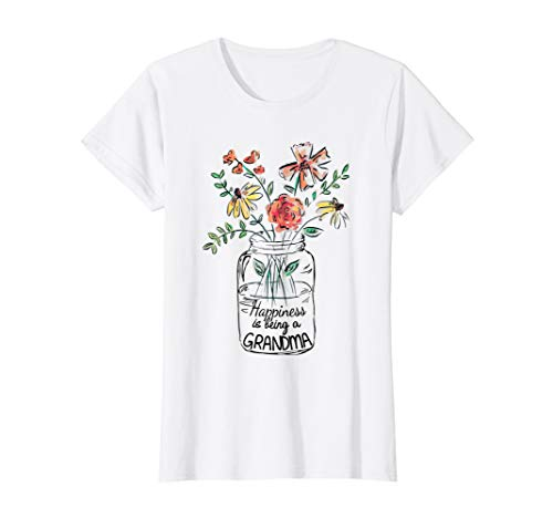 (Womens Happiness Is Being Grandma Life - Flower Art-Grandma Tee)