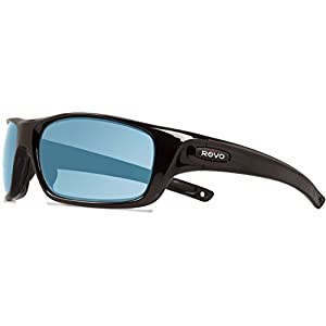 Revo Re 4073gf Guide Ii Wraparound Polarized Wrap Sunglasses, Shiny Black Blue Water, 61 mm