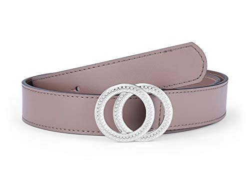 Women's Belts Genuine Leather Fashion Luxury Designer Belt For Jeans Dress Double Ring Round Diamond Buckle (Style 2 - Light Pink Belts + Sillver Buckle, 105 cm / 41.3