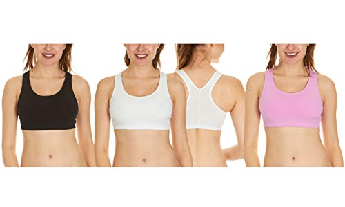 3 Pack of Fruit of the Loom Women's Cotton Sports Bras, Black/White/Light Hot Pink, XX-Large
