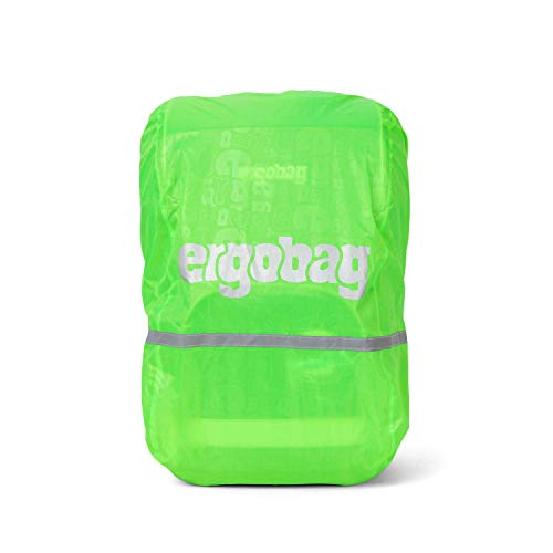 Ergobag Regencape für Schulrucksäcke, wasserdicht, Leuchtfarben, Reflektoren, Gummizug, Grün Glow
