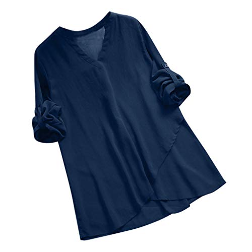 Long Sleeve Tee Blouse for Women,Amiley Womens V-Neck Wrap Front Pleated Solid Color Rolling Long Sleeve Tunic Tops T Shirts (X-Large, Blue)