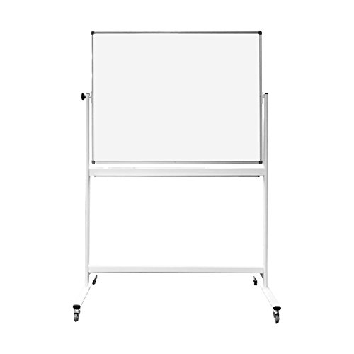 Thornton's Office Supplies Magnetic Reversible Mobile Dry Erase Whiteboard Easel, White/Silver by Thornton's Office Supplies