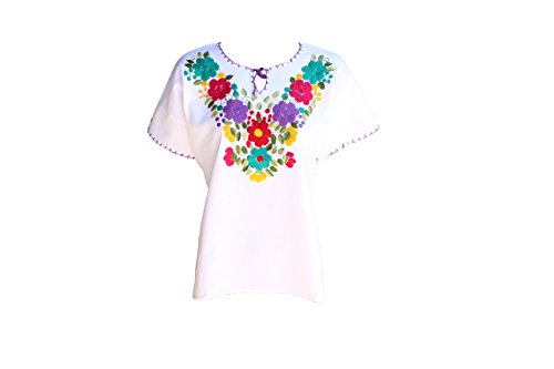 TABIK White Floral Authentic Mexican Peasant Blouse Embroidered Blouse (FullFlower)