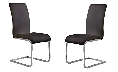 Armen Living LCAMSIBL Amanda Dining Chair Set of 2 in Black and Chrome Finish (Room Furniture Dining Legacy)