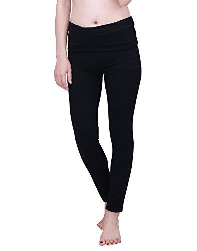 HDE Women's Maternity Yoga Pants Stretch Pregnancy Leggings Fold Over Waistband (Black,