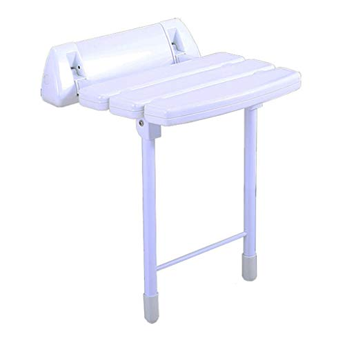 (Shower Stool Wall-Mounted Aluminum Alloy Folding Shower Seating Chair Slatted Bath Board with Support Legs for Indoor & Outdoor)
