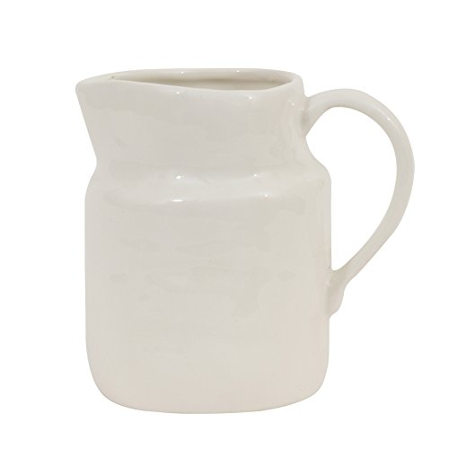 - Creative Co-Op DA7219 White Stoneware Creamer Vintage Reproduction
