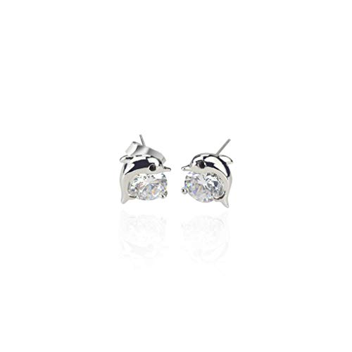 - Firiodr Cute Dolphin Earrings Girls Women Party Club Crystal Silver-plated Earrings