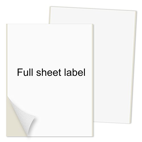 PACKZON Shipping Labels Full Sheet with Self Adhesive, Square Corner, for Laser & Inkjet Printers, 8.5
