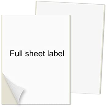 """PACKZON®️ Shipping Labels Full Sheet with Self Adhesive, Square Corner, For Laser & Inkjet Printers, 8.5"""" x 11"""" White, (100 Labels)"""