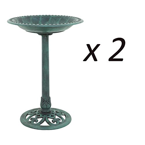 Rungfa 2 Pieces Pedestal Bird Bath Feeder Outdoor Garden Green Weatherproof Yard Decor