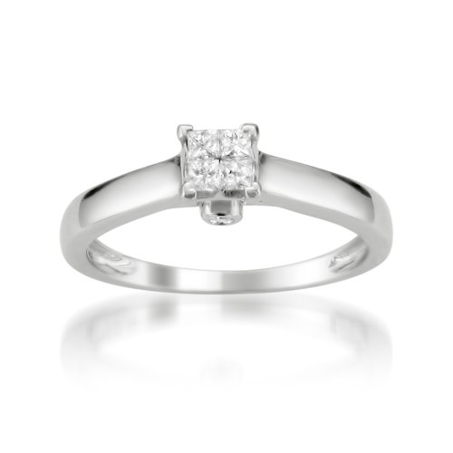 10k White Gold Princess-cut & Round Invisible-Set Diamond Bridal Engagement Ring (1/4 cttw, I-J, I2-I3), Size 6 (Set Bridal Invisible Diamond)
