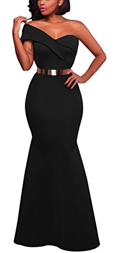 Women's Sexy One Shoulder Ponti Gown Mermaid Evening Maxi Party Dress Black M (Black Formal Evening Gowns)