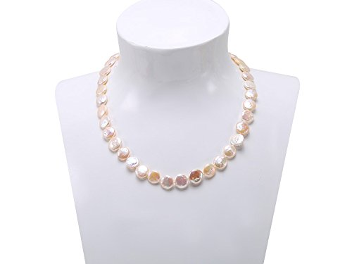 JYX Classic 11-12mm White Coin Freshwater Pearl Necklace 17.5
