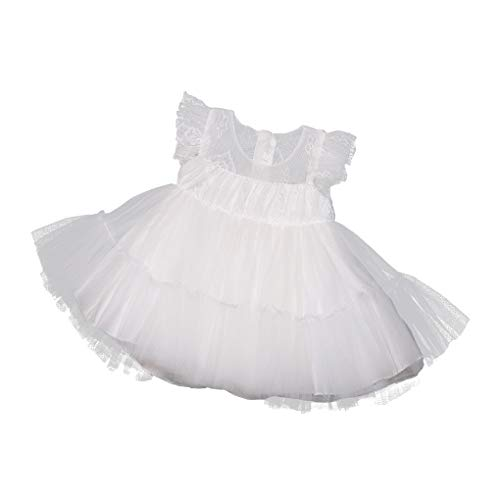Christening Dress for Baby Girls Summer Lightweight Baptism Gowns Floral Embroidered Dedication Dress Ivory Size 6M / ()