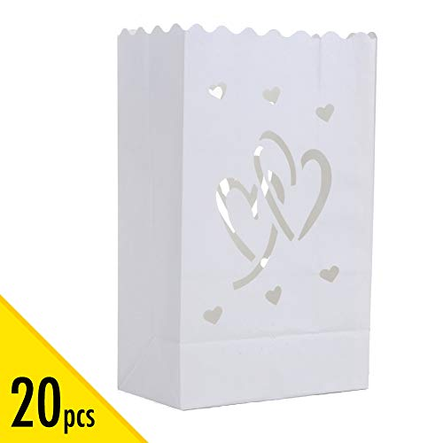 20pcs White Luminary Candle Bags Special Lantern Luminary Bag Duo Heart Durable Reusable Fire-Retardant Cotton Material Wedding Valentine Reception Engagement Marriage Proposal Event