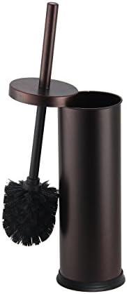 Home Basics Toilet Bowl Brush with Holder For Bathroom Storage, Bronze