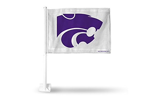 Rico NCAA Kansas State Wildcats Car Flag, White, with White Pole by Rico