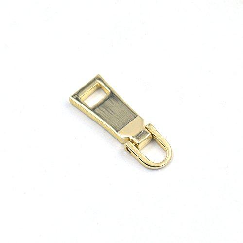 5 Pcs #5 Zipper Fixer Repair Pull Tab Instant Kit Pants Replacement Molded Slider Fix Light-Gold - Zipper Pull Gold
