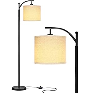 Brightech – Montage LED Floor Lamp – Black, Glossy Noir Stem with Oatmeal Hue Drum Shade – Sophisticated Look, Affordable Price – Includes Brightech's LightPro LED 9.5-Watt Bulb