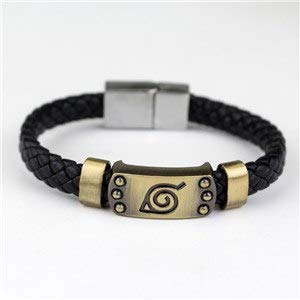 LUCILAS Bracelets Naruto 8,2 inch Japanese Anime Naruto Knit Bracelet Weave Leather Clap Bracelet for Men Cosplay Costumes Accessories ()