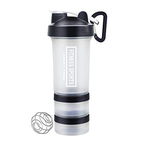 YIXIAN Protein Shaker Bottle 3 in 1 Portable Shaker Cup,100% BPA-Free Leak Proof Sport Mixer Fitness Sports Nutrition Supplements Non-Slip Mix Shaker Cup 17oz 500ml (White)