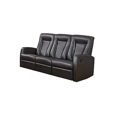 Monarch Specialties I 82BR-3 Reclining Sofa in Brown Bonded Leather