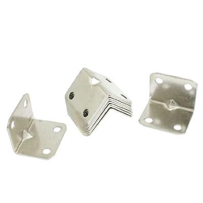 uxcell 10 Pcs 31 x 21mm Chair Door Brackets Metal Corner Braces Silver Tone
