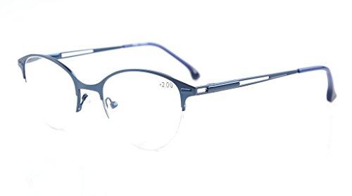 Eyekepper Quality Spring Hinges Half-Rim Cat-eye Style Reading Glasses Blue (Half Eye Reader)