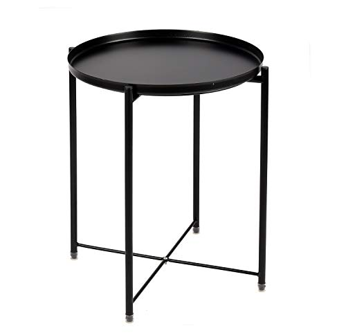 - Zytty End Table Metal Tray Sofa Table Side Table Small Round Table, Anti-Rust and Waterproof Outdoor & Indoor Use Snack Table, Black