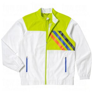 Adidas Front Pocket Woven Lined Jacket (XL, White/Limeade/Navy/Royal) by adidas