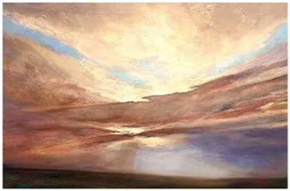 BO LAI DE Wall Art Home Decoration Abstract 100% Hand Painted Sunset Scenery Oil Painting Unframed Wall Hangings Canvas Art Unframed,100 cm x 180 cm