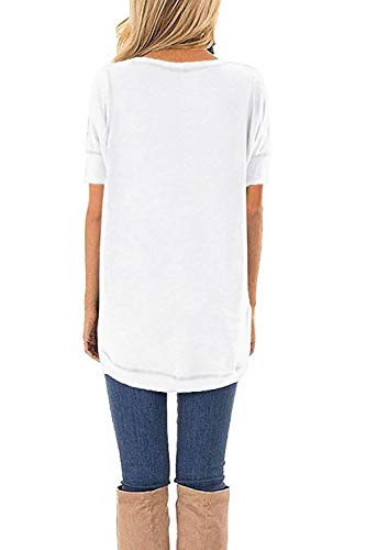 HIYIYEZI Summer Tops for Women Short Sleeve Side Split Casual Loose Tunic Top