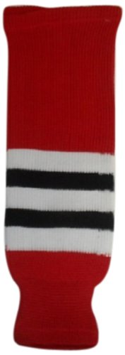 fan products of DoGree Hockey Chicago Blackhawks Knit Hockey Socks, Red/White/Black, Adult/32-Inch