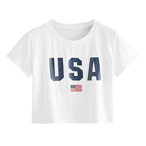 T-Shirt 4th of July,Keepfit Fashion U S A Print Short Sleeve Crop Tops for Teen Girls(White,US 10) ()